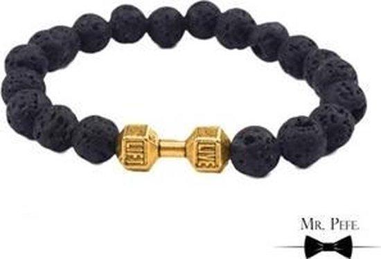 Mr. Pefe Armband Tibet Collectie Zwart Lava en Goud