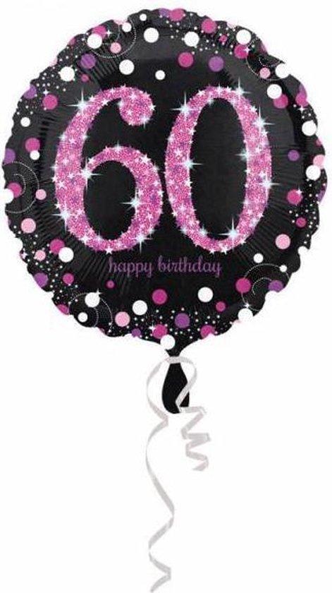 Helium Ballon 60 Jaar Roze 43cm leeg