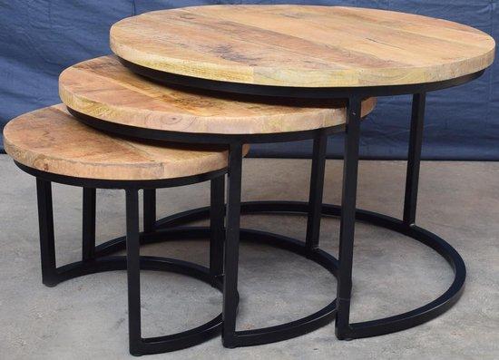 Koloniaal Teakhuis Salontafel - Set 3 delig - Mangohout Naturel - Metalen Frame