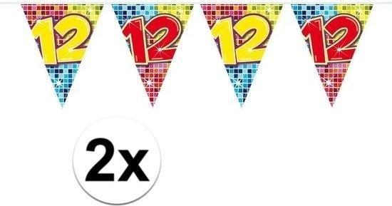 Betere bol.com   2x Mini vlaggenlijn / slinger - verjaardag 12 jaar - 300 cm AY-11