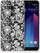 HTC U11 Plus TPU-siliconen Hoesje Black Flowers