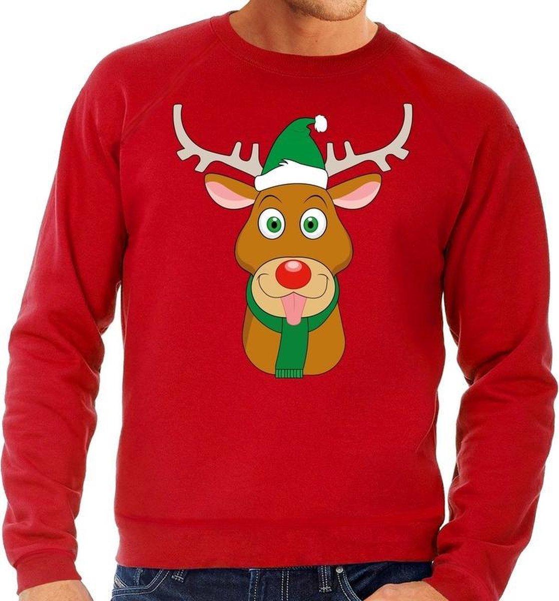 Foute kersttrui / sweater met Rudolf het rendier met groene kerstmuts rood voor heren - Kersttruien L (52) - Bellatio Decorations