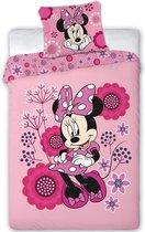 Disney Minnie Mouse Flowers - Dekbedovertrek - Eenpersoons - 140 x 200 cm - Polyester