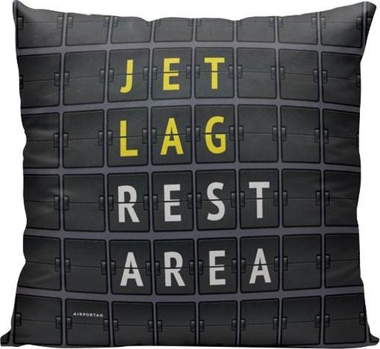 Jet Lag Rest Area - Sierkussen - 40 x 40 cm - Reizen / Vakantie - Reisliefhebbers - Voor op de bank/bed