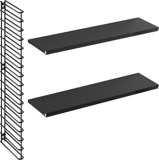 Tomado - Wandrek uitbreidingsset - 1 zwart rek, 2 zwarte planken