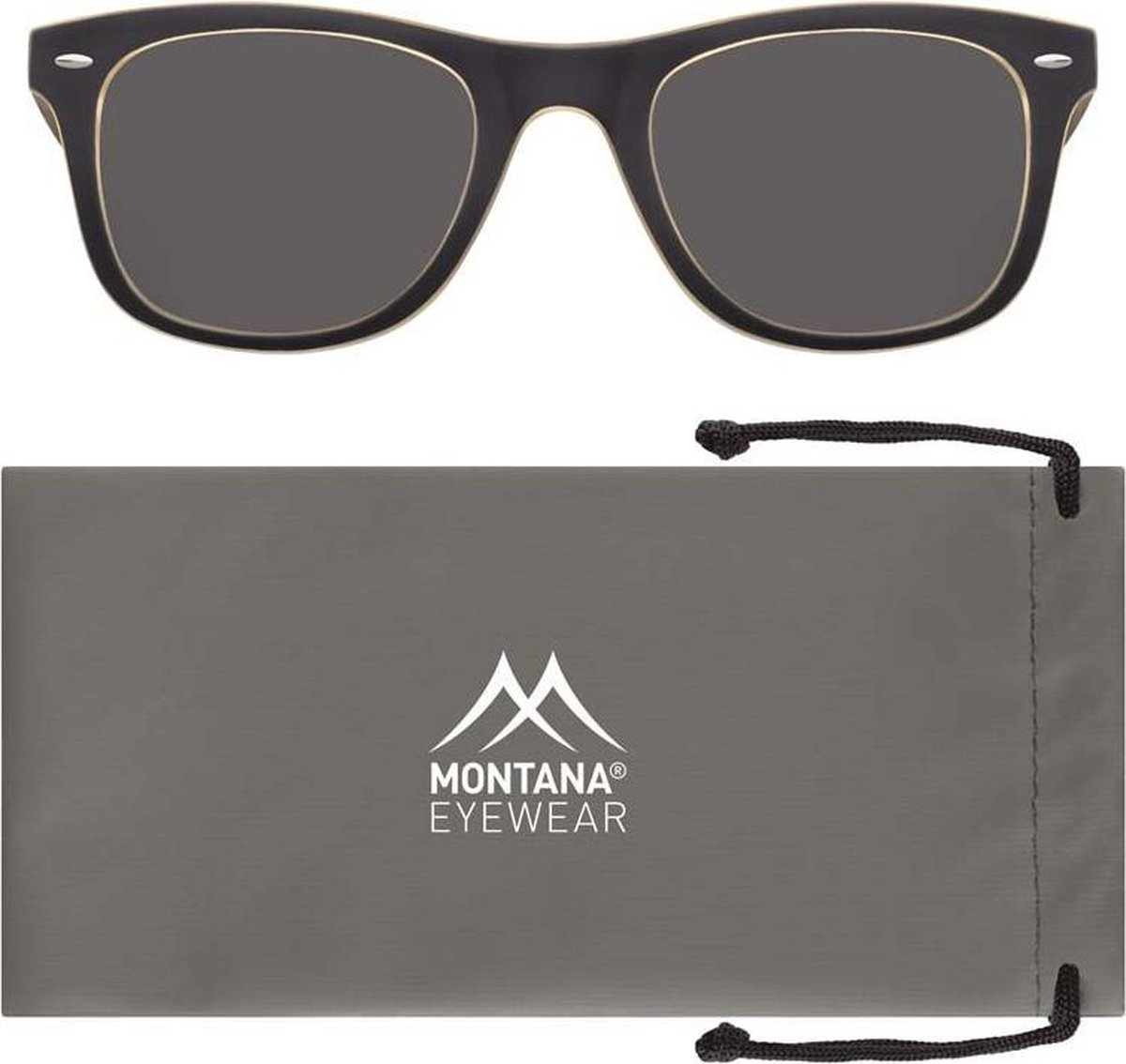 Montana MP42D Zonnebril New Wayfarer style Zwart en Grijs Lensbreedte 50 mm