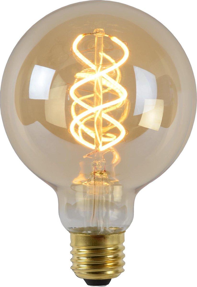 Lucide LED Bulb - Filament lamp - Ø 9,5 cm - LED Dimb. - E27 - 1x5W 2200K - Amber op De Prijzenvolger