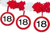 18 jaar slinger met stopborden - 4 mtr - feestslingers