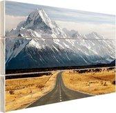 Weg naar de bergen Hout 30x20 cm - klein - Foto print op Hout (Wanddecoratie)