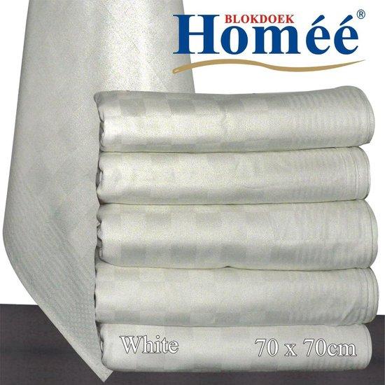Homéé® Horeca suite Blokdoeken pompdoeken theedoeken - wit / wit - set van 6 stuks - 70 x 70 cm