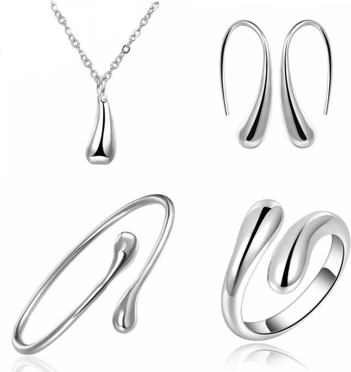 Jewelry Silver Waterdrop/Druppel Set 4-delig | 925 Zilver | Fashion Favorite - Fashion Favorite