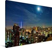 Een volle maan schijnt over de miljoenenstad São Paulo in Brazilië Canvas 180x120 cm - Foto print op Canvas schilderij (Wanddecoratie woonkamer / slaapkamer) XXL / Groot formaat!