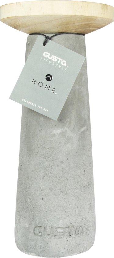 Gusta Kandelaar - ø12xH25cm - Cement/Hout