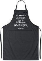 Mijncadeautje - Luxe schort - zwart - Alle mannen zijn gelijk - december