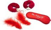Banoch | Bondage Naughty Red | rode handboeien, blinddoek en streelveren