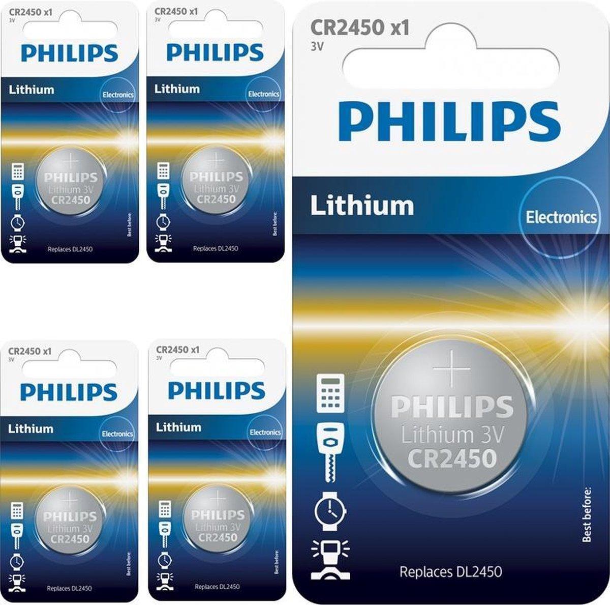 5 Stuks - Philips CR2450 3v lithium knoopcelbatterij