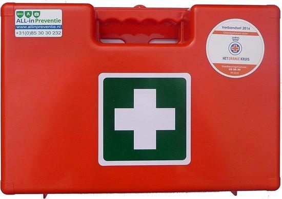 EHBO verbandkoffer BHV (Oranje Kruis goedgekeurd). De EHBO koffer is inclusief wandbeugel en bevestigingsmateriaal!