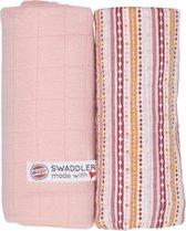 Lodger Hydrofiele doeken - Swaddler - Print/Solid - Lichtroze/Stripe - 2 stuks