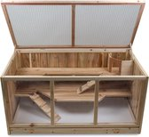 Grote Houten Hamsterkooi - Rechthoekige Hamster / Muizenkooi - 95 x 51 x 50 cm - Hout