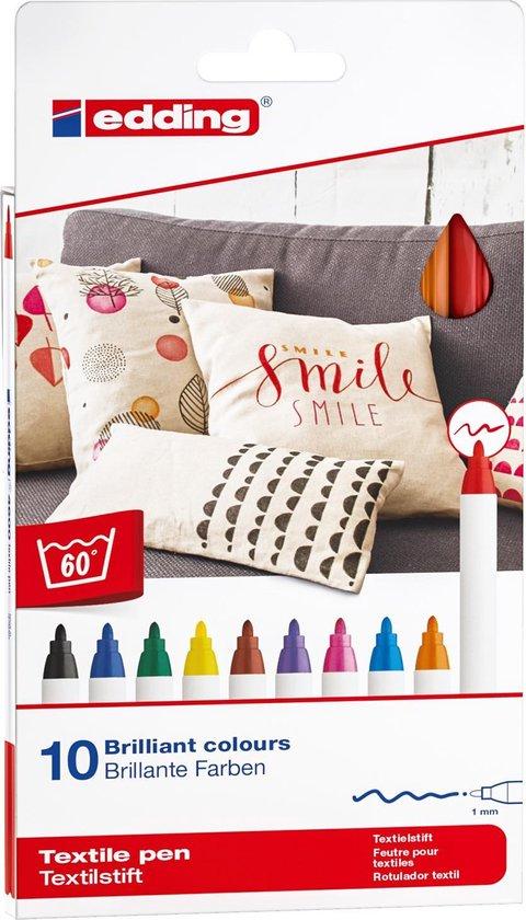 Afbeelding van edding Textielstiften - 10 kleuren textielmarkers - Ronde punt van 1 mm - Wasbestendig decoreren