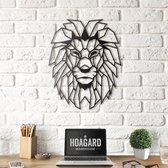 Metalen Leeuwenhoofd - Metal Lion Head - Hoagard | Geometrisch Ontwerp |Zwart 40cm x 50cm |Beste cadeau-idee voor dierenliefhebbers | Modern interieuridee | Country & Rustic Style | Dieren in Het Wild