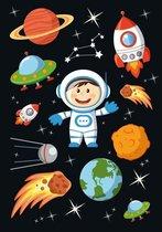 30x Astronaut/ruimte stickers - kinderstickers - stickervellen - knutselspullen