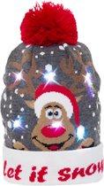 JAP Kerstmuts met lichtjes - Beanie met kerst verlichting - Rudolf - Let it snow
