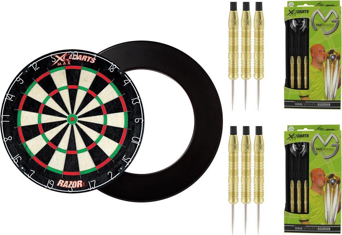 XQ Max - Razor1 Bristle - dartbord - inclusief - dartbord surround ring - Zwart - inclusief 2 sets 100% Brass Michael van Gerwen - 20 gram - dartpijlen