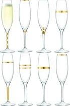 LSA Deco Champagneflute - Glas - 225 ml - 8 Stuks - Goudkleurig