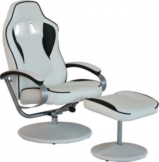 Bureaustoel Wit Leer Metalen Voet.Bol Com Loungestoel Relax Stoel Pu Leder Wit Zwart Bol Com