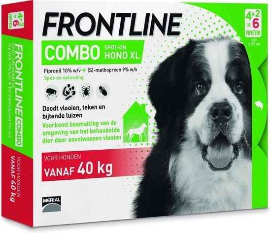 Frontline Combo - XL: van 40 tot 60 kg - Anti vlooienmiddel en tekenmiddel - Hond - 6 pipetten