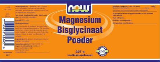 NOW  Magnesium Bisglycinaat poeder - 227 gram