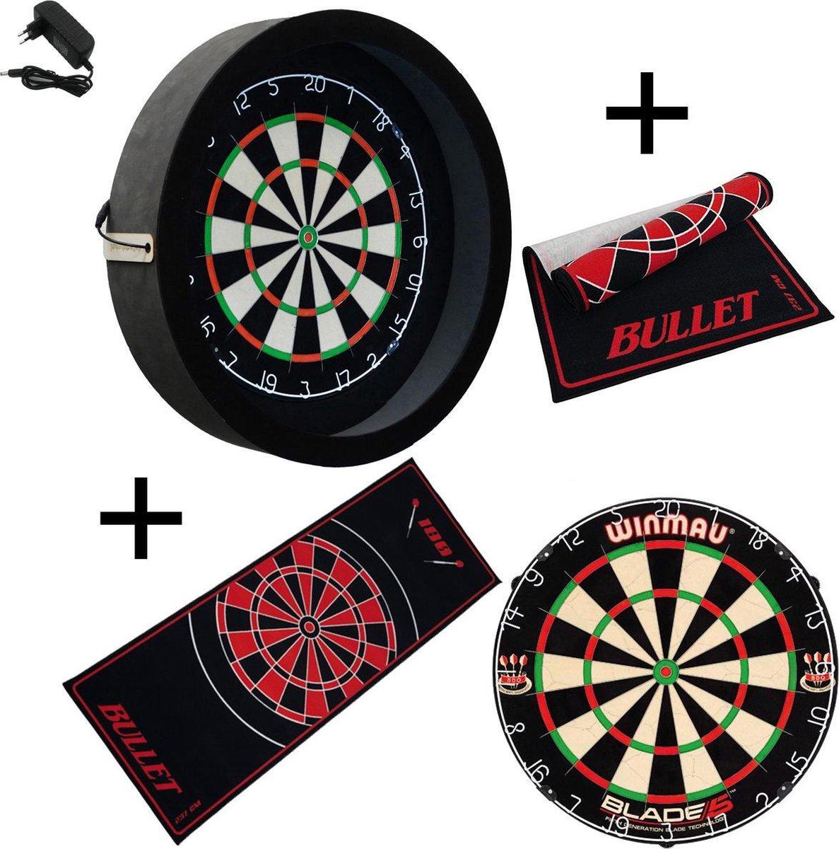 Dragon - Sorpresa PRO - Complete PRO - zwart-bullet rood - Winmau Blade 5 - dartmat antraciet - dartbord verlichting