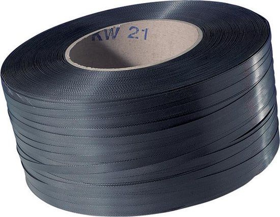 Omsnoeringsband, PP, 10mm, kern 200mm, 3000m, zwart.