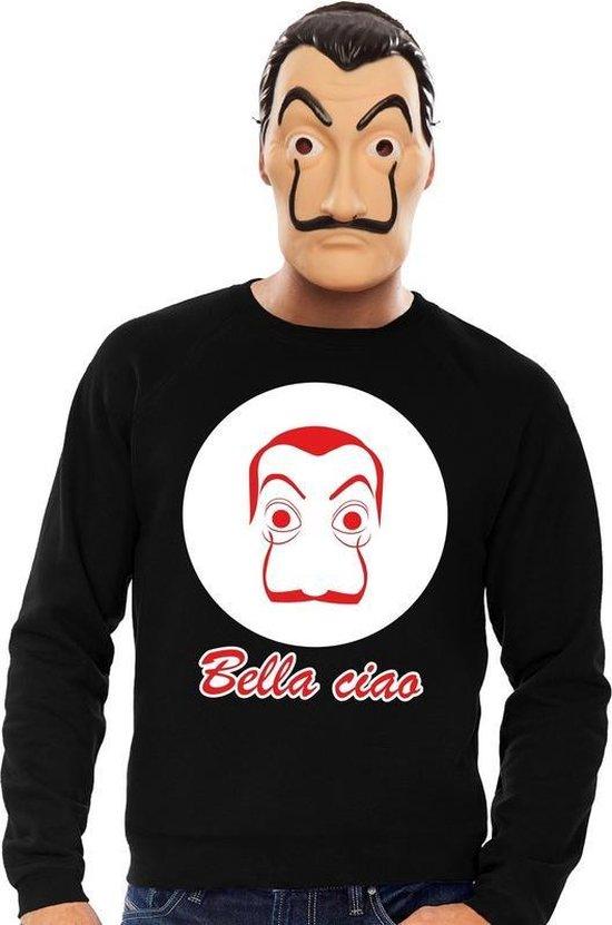 Zwart Salvador Dali sweatshirt maat L - met La Casa de Papel masker voor heren - kostuum