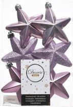 6x Lila paarse kerstversiering sterren kerstballen - 7,5 cm - kerstbal