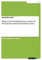 Beleg zu den Schulpraktischen Studien im Fach Sport an einem Gymnasium in Jena