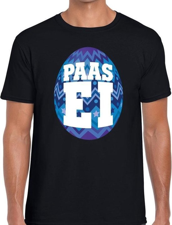 Zwart Paas t-shirt met blauw paasei - Pasen shirt voor heren - Pasen kleding 2XL