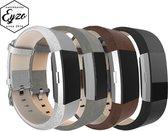 Fitbit Charge 2 Zilver, Grijs, Zwart & Bruin Bandjes - Leer