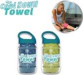 Cool Down Towel Green + Blue sport handdoek