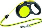 Flexi New Neon Koord - Hondenriem - Geel/Zwart - M - 5 m - (<20 kg)