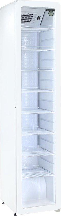 Koelkast: Gastro-Cool GD175 - Retro Slimline koelkast met glazen deur 220 Liter - Wit/Wit/Wit 255500, van het merk Gastro-Cool
