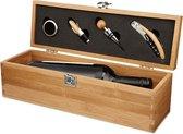 Wijnkist van bamboe - Wijn kist inclusief kurkentrekker, kurk, wijnring en schenker - Wijn & Co
