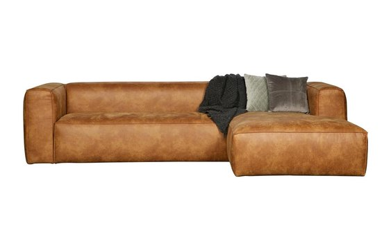 WOOOD Bean Hoekbank Rechts - Recycle leer - Cognac - 73x305x96/175 - WOOOD