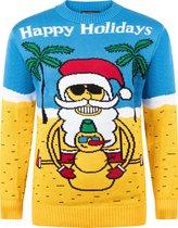 """Foute Kersttrui """"Kerstman Groet vanaf het Strand"""" - Grappige Kersttrui - Christmas Sweater - Heren   Mannen - Dames   Vrouwen - Volwassen Maat M - Geel"""