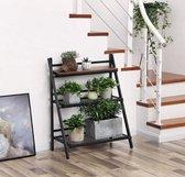 MIRA - Plantenrek | Plantenstandaard |Opvouwbaar | Eenvoudig Montage | Metaal | Trapvormig | Planten | Bloemen | Boeken | Balkon | Tuin | Binnen | Zwart