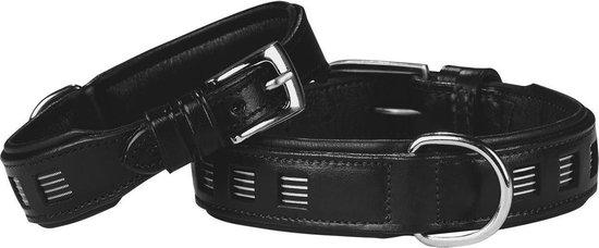 Nobby halsband puno zacht leer zwart 30-40 x 3 cm - 1 st
