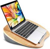 HN laptop standaard - Grijze kussen/ Hout