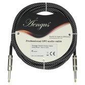 Áengus Black Tweed Gitaarkabel Instrument kabel - 6.35mm mono jack plug recht/recht - 6 meter