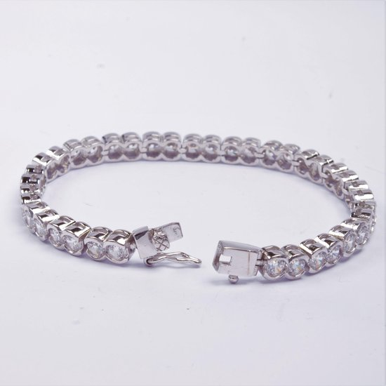 925 Zilveren Dames Armband   Groen en Witte steentjes   by